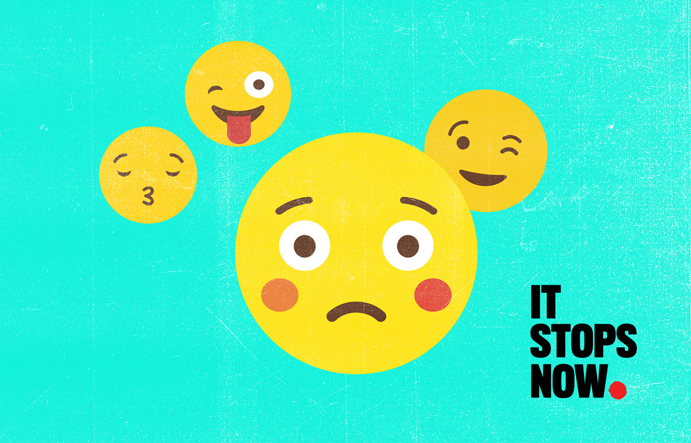 Emoji-inspired artwork for It Stops Now European Union Womens Rights Campaign branding