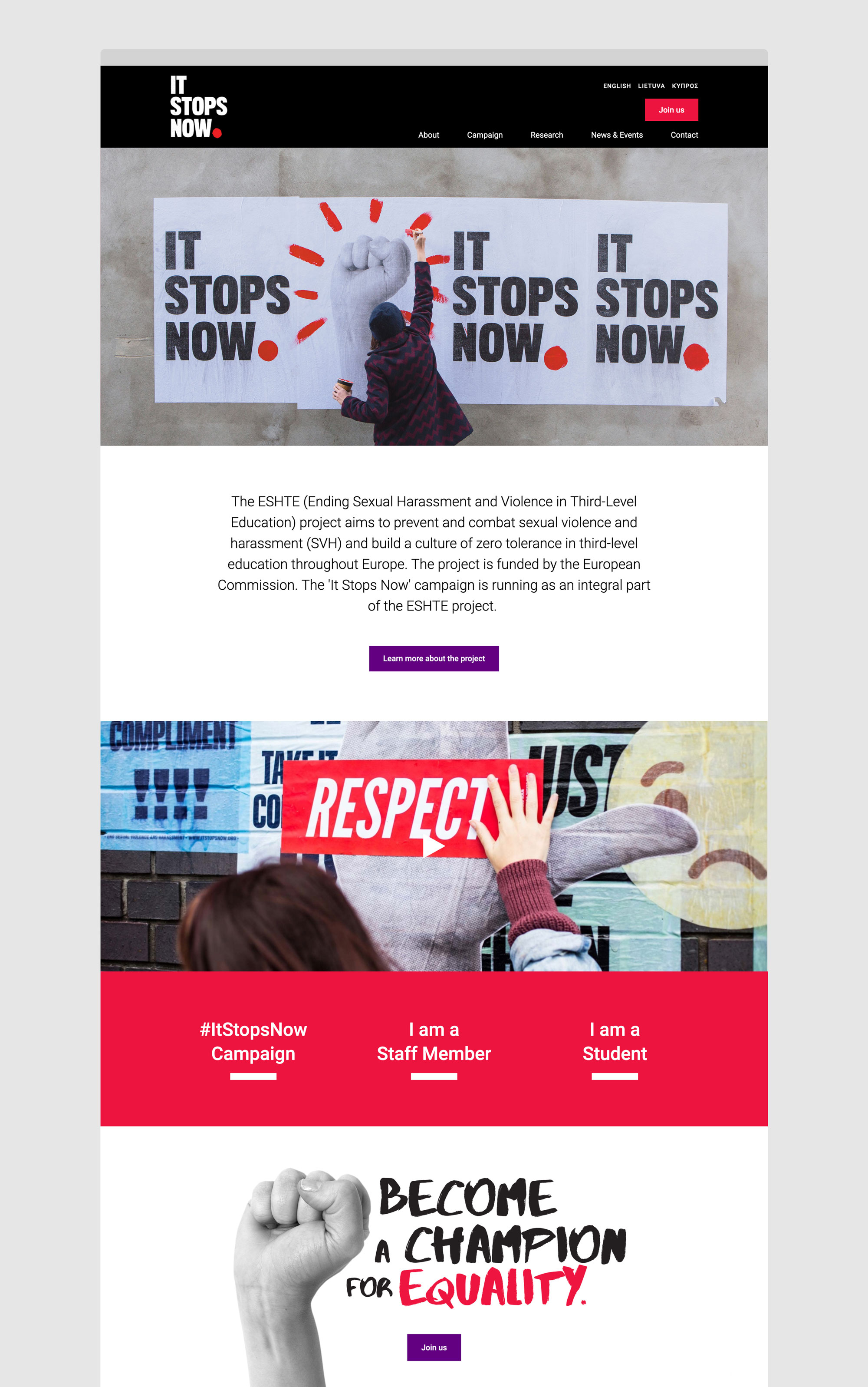 It Stops Now European Union Womens Rights Campaign Website Design