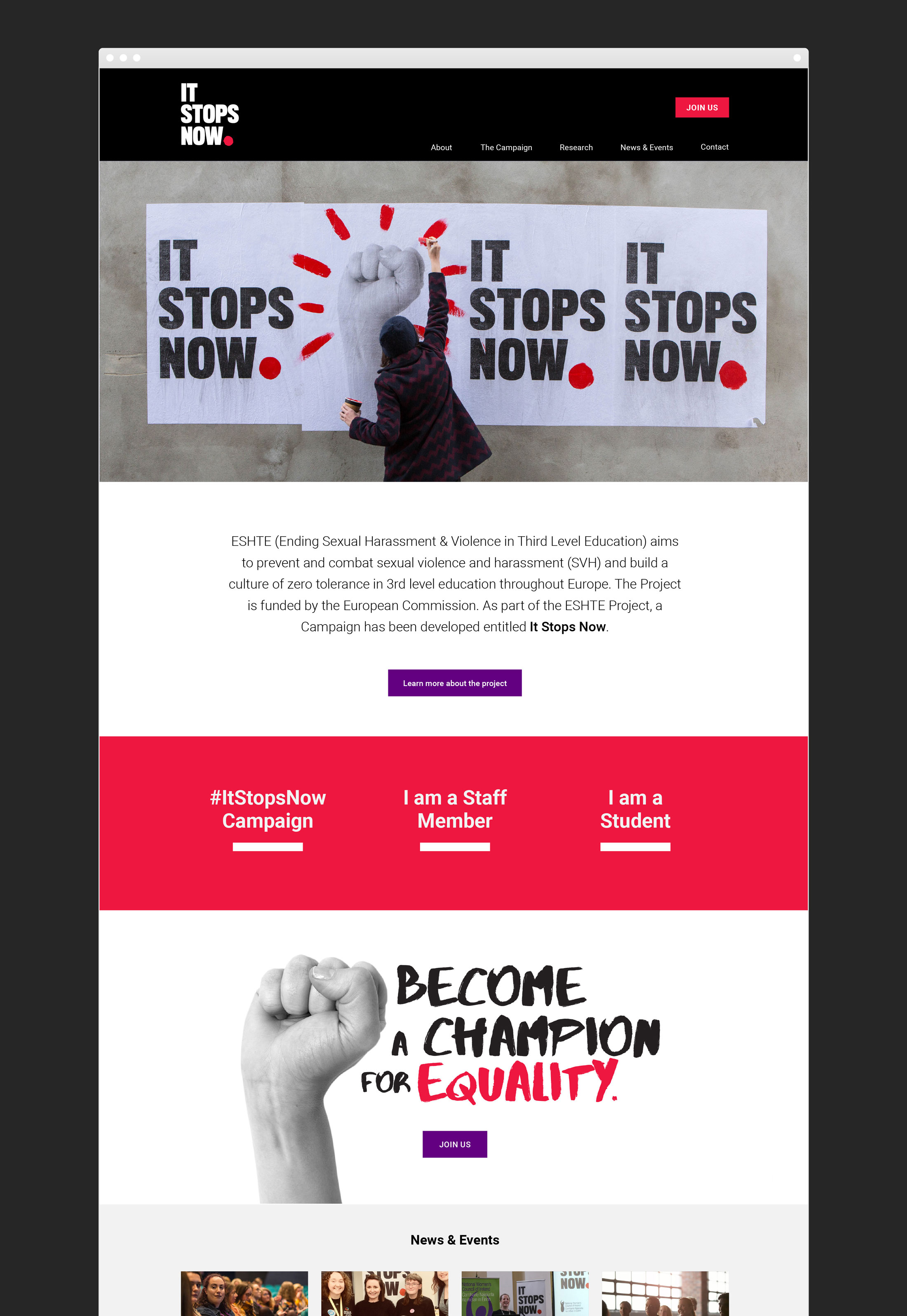 Website design and development for It Stops Now European Union Womens Rights Campaign Front page