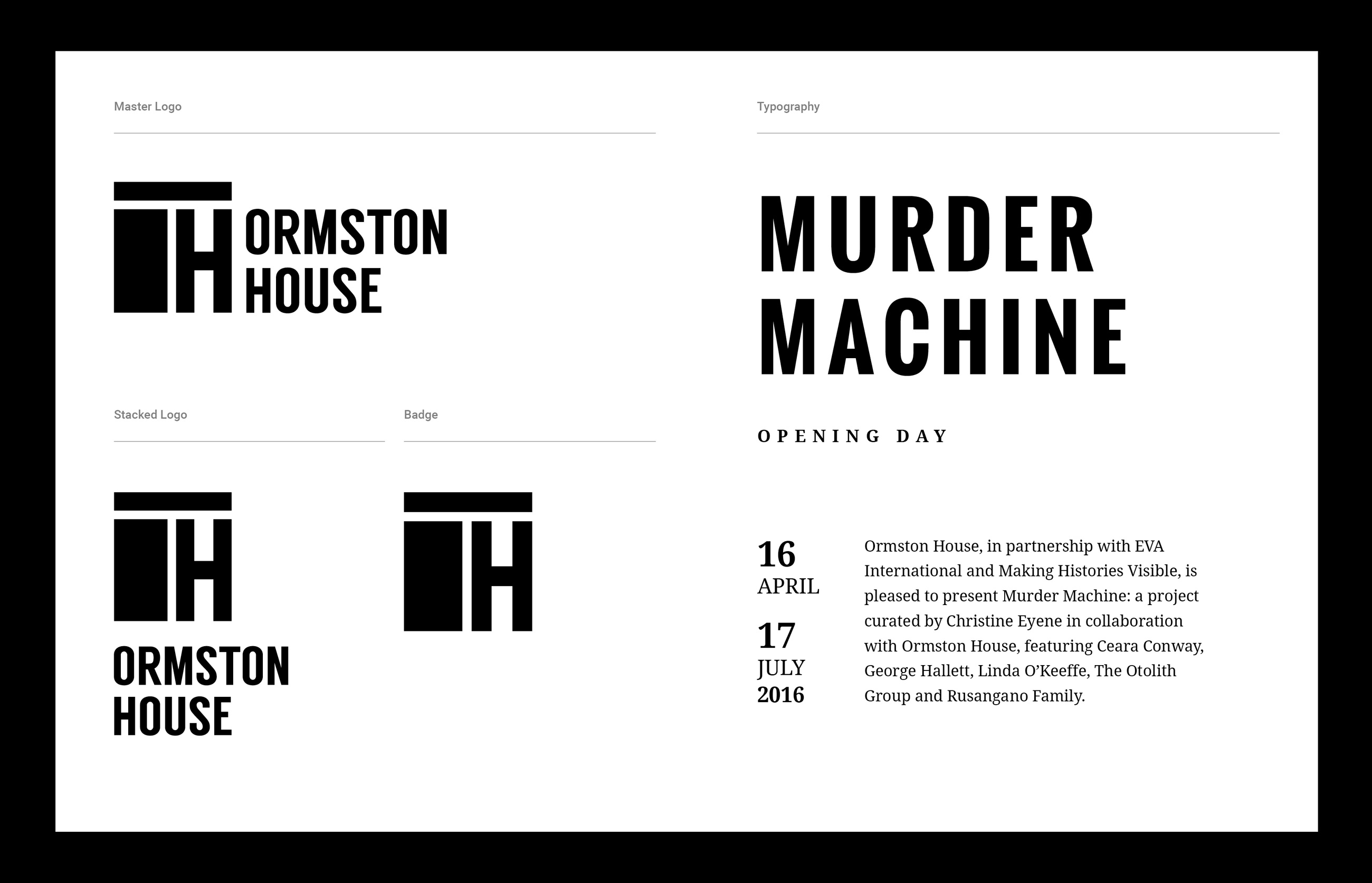 Ormston House brand development featuring logo design and typography