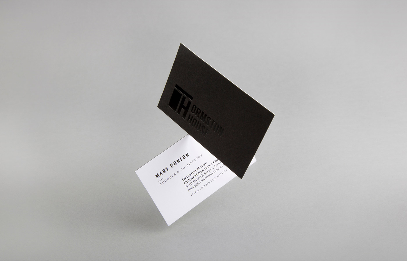 Ormston House Limerick brand development featuring branded business cards.