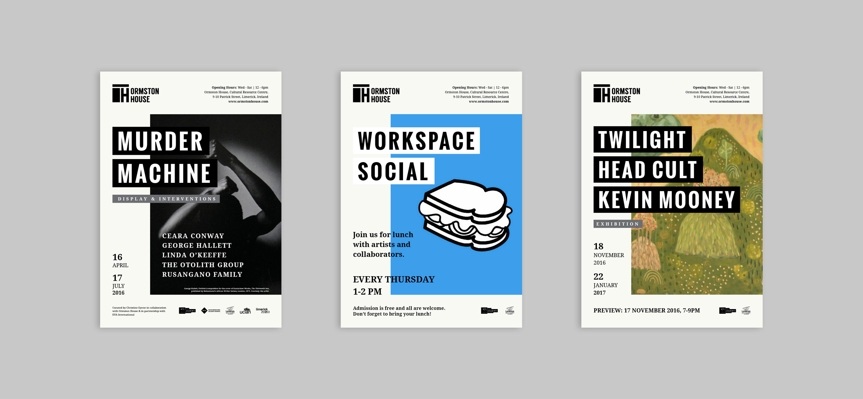 Posters for Ormston House events featuring brand development and typography
