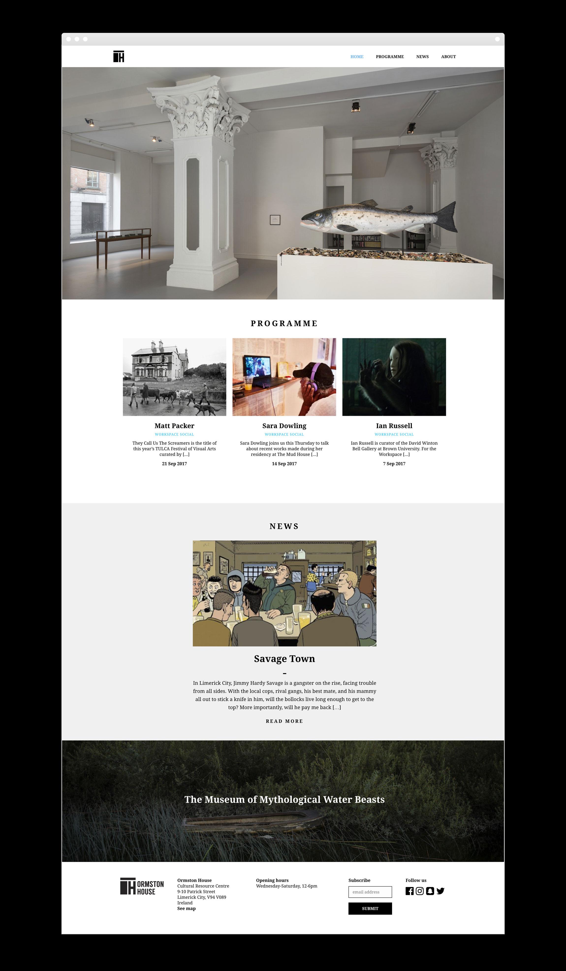 Ormston House Limerick web design sample of website