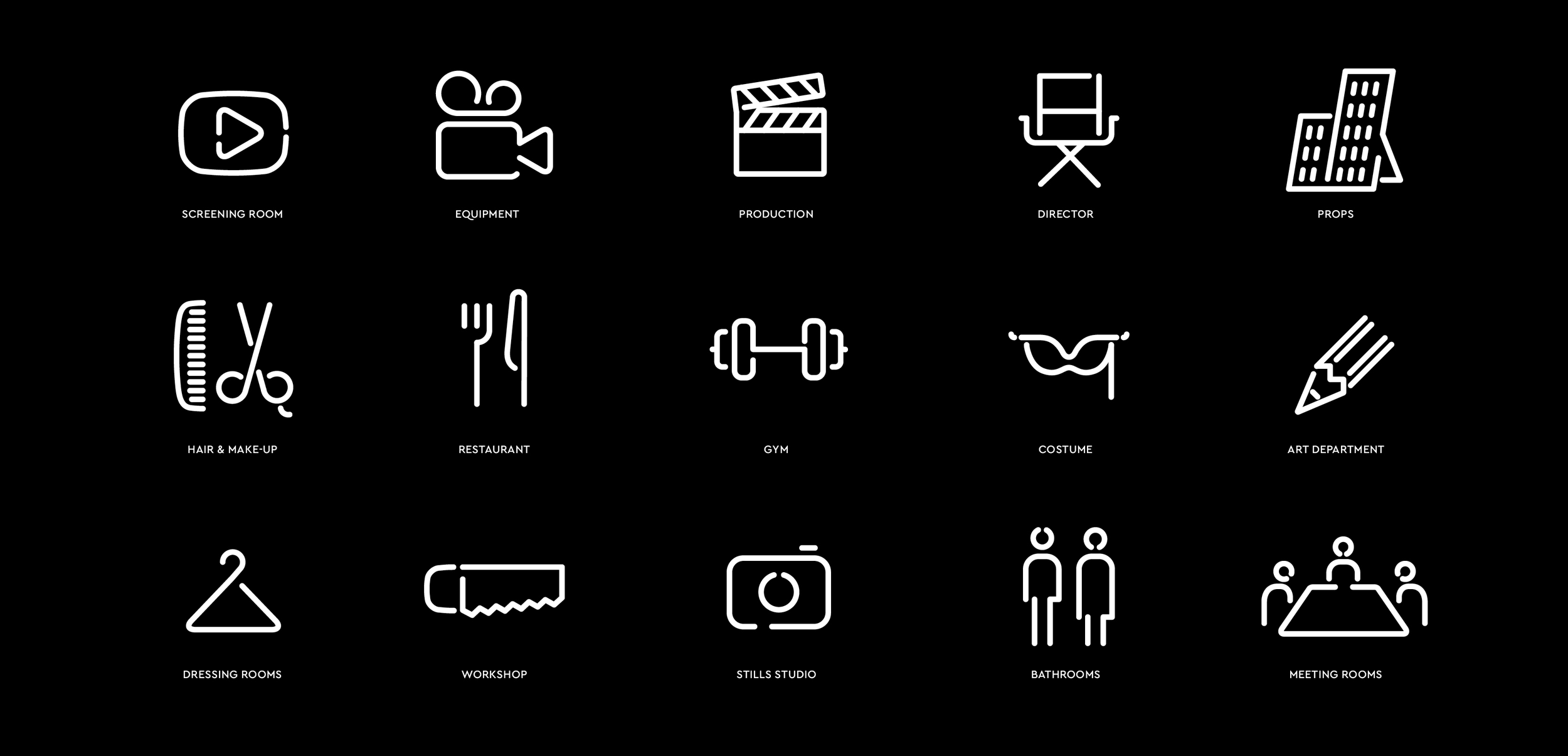 Iconography design with consistent branding identity for Troy Studios facilities