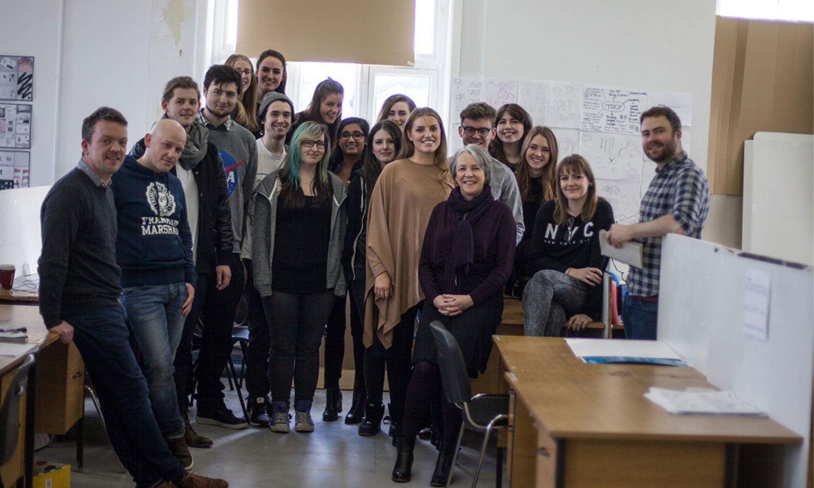 Students of Limerick School of Art and Design at a branding workshop in Troy Studios