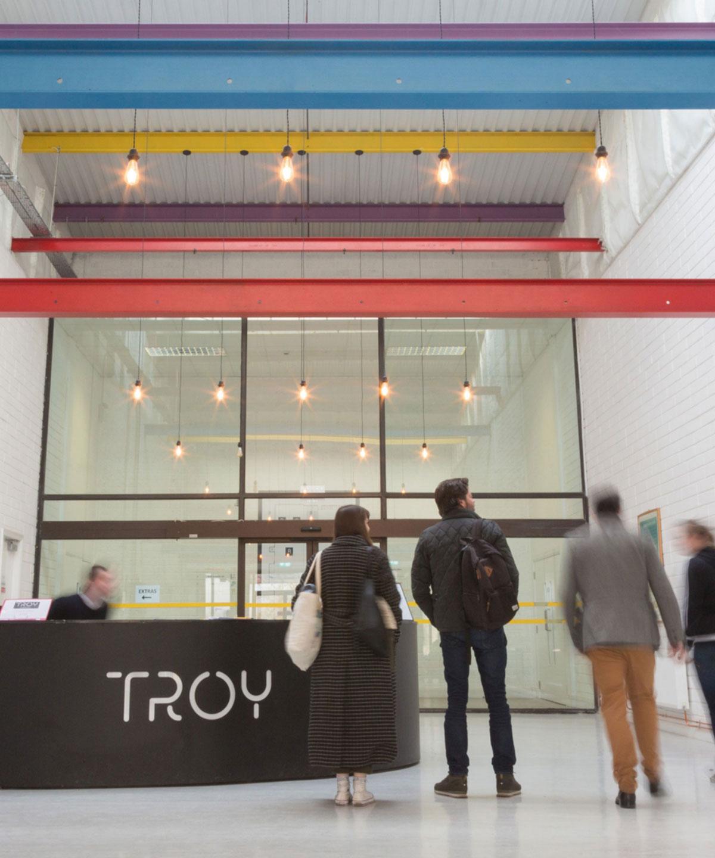 Brand design for signage at Troy Studios reception, Limerick.