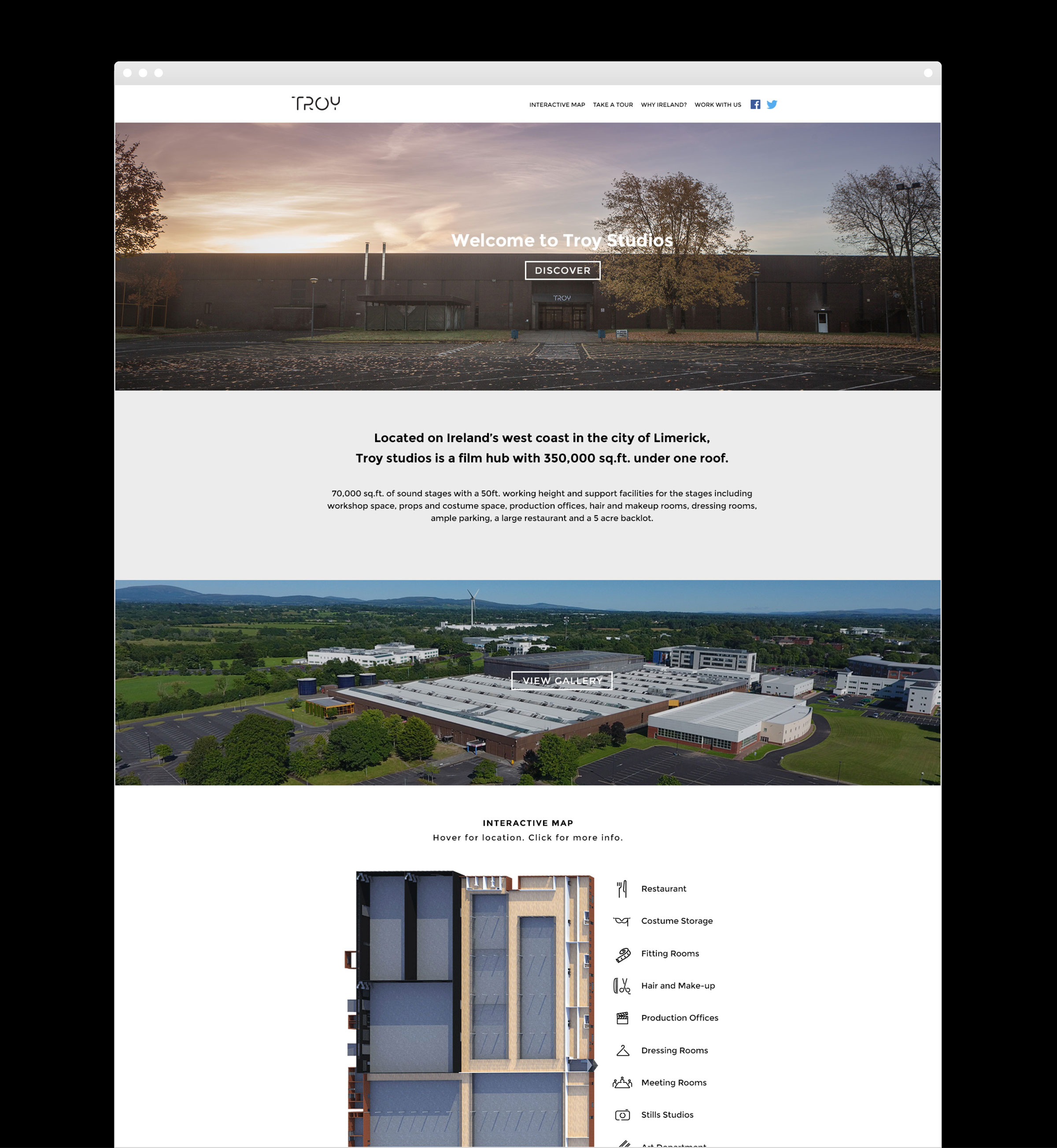 Web design and development for Troy Studios Limerick by Piquant