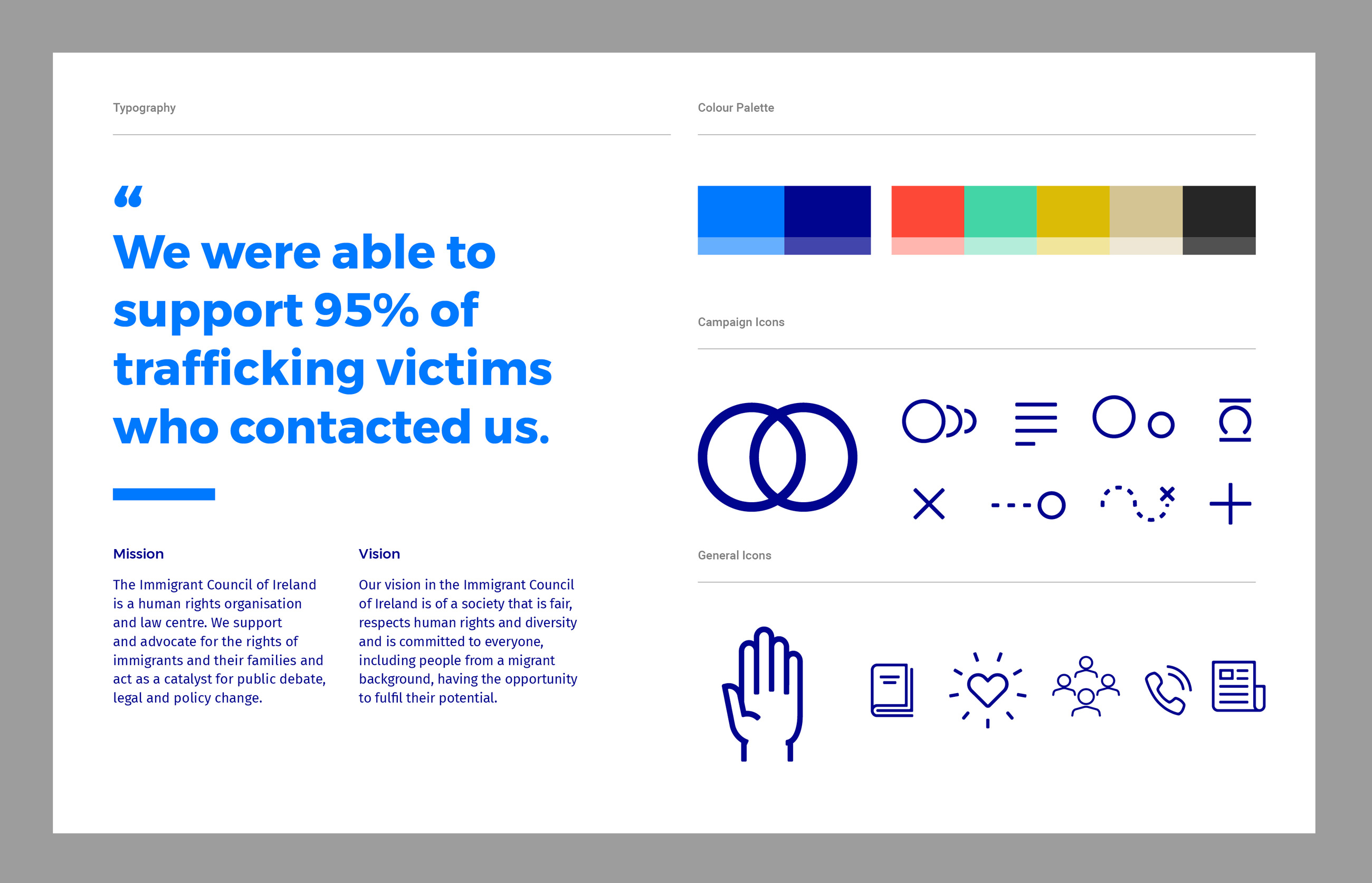 Immigrant Council of Ireland Brand Development brand guidelines for typography, the colour palette, and iconography