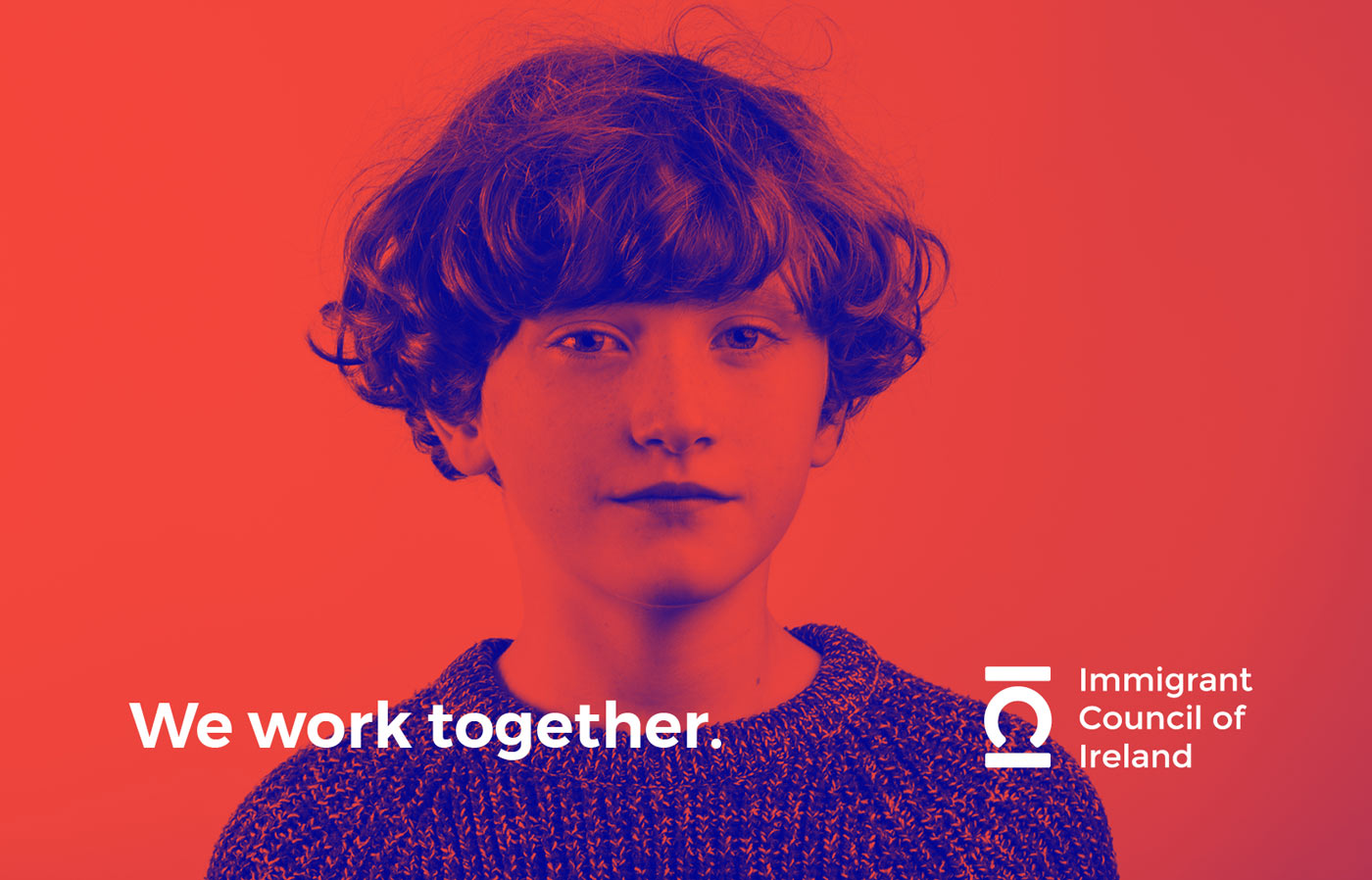 Logo design and photography production for the Immigrant Council of Ireland featuring a young boy in blue and red.