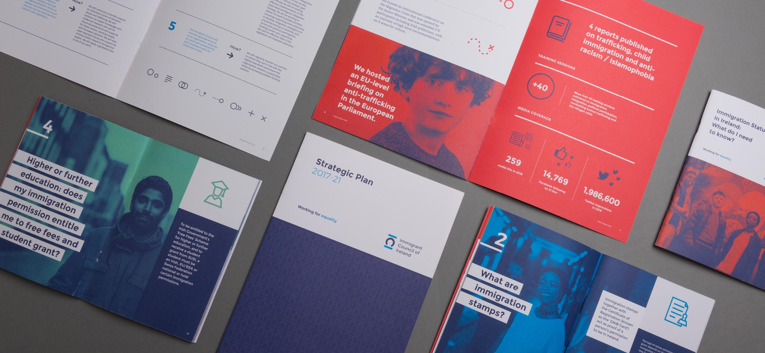 Immigrant Council of Ireland Editorial graphic design selection of print publications