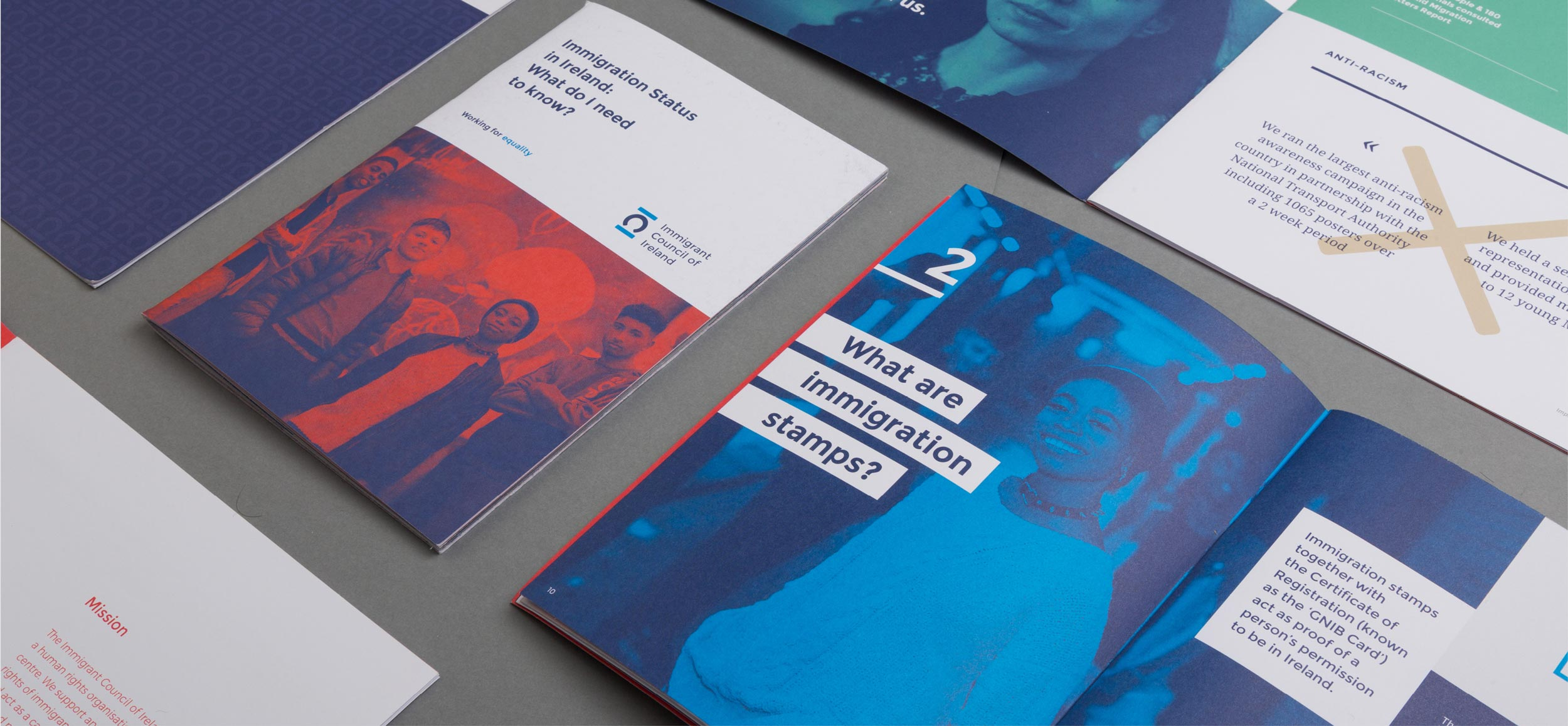Immigrant Council of Ireland Editorial graphic design of brochure samples