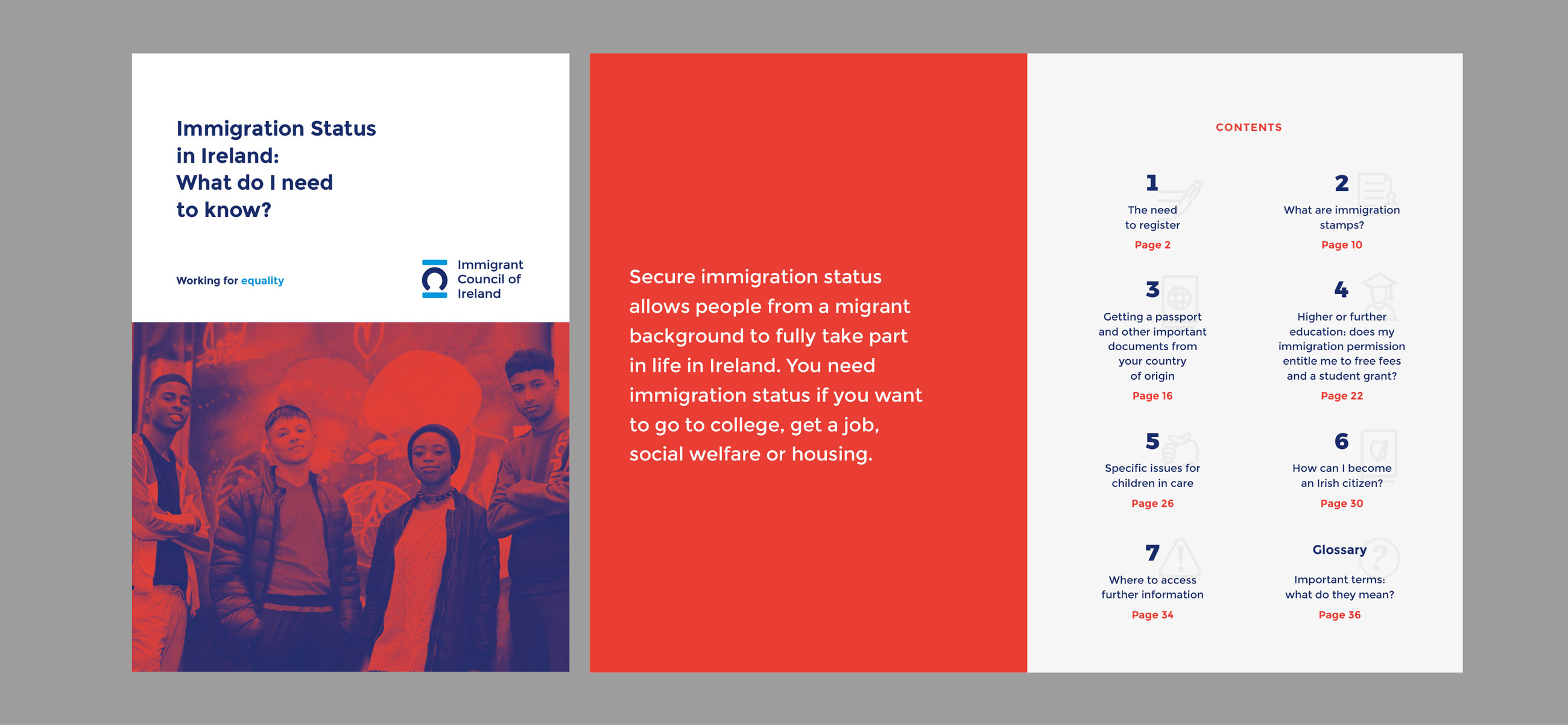 Immigrant Council of Ireland editorial design and print featuring brochure design and branding