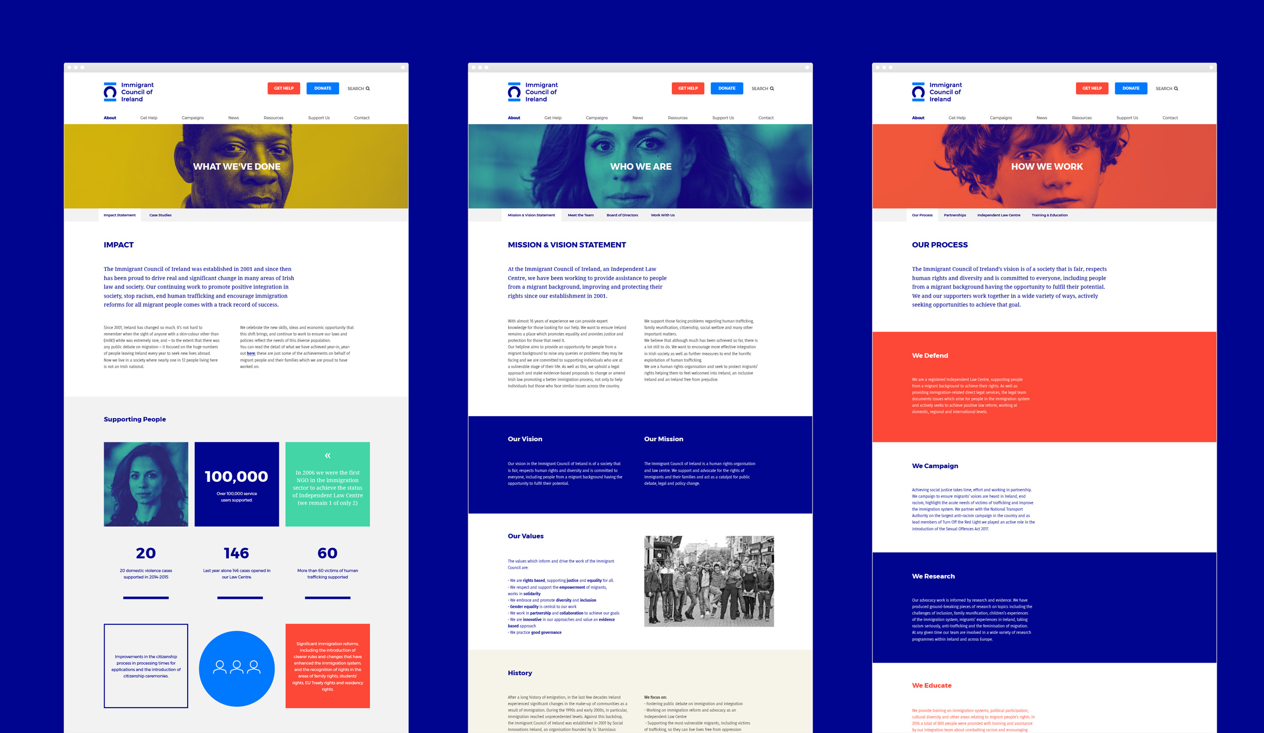 Immigrant Council of Ireland website design and development, some sample pages