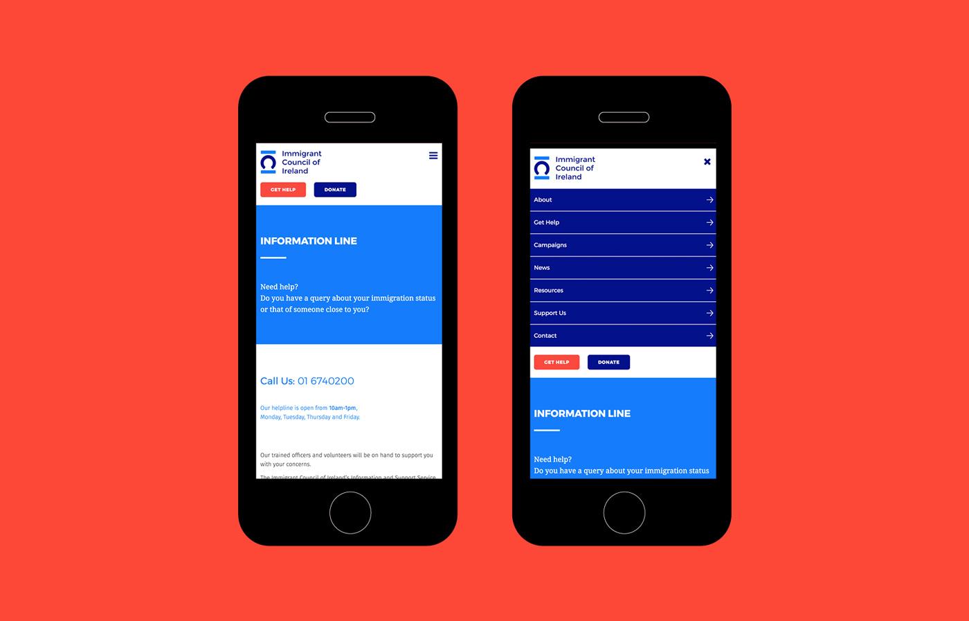 Immigrant Council of Ireland website development optimised for smartphones