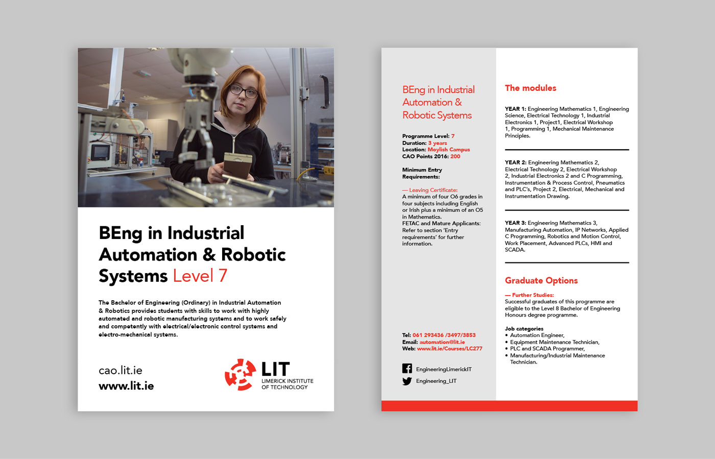 LIT Electrical and Electronic Engineering brochure design featuring details on the BEng in Industrial Automation & Robotic Systems course.