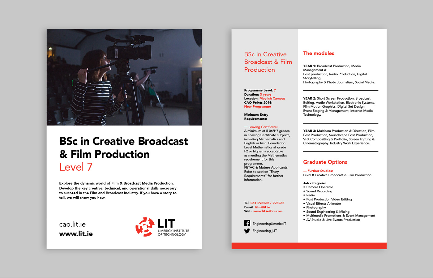 LIT Electrical and Electronic Engineering brochure design of course card for BSc in Creative Broadcast & Film Production.