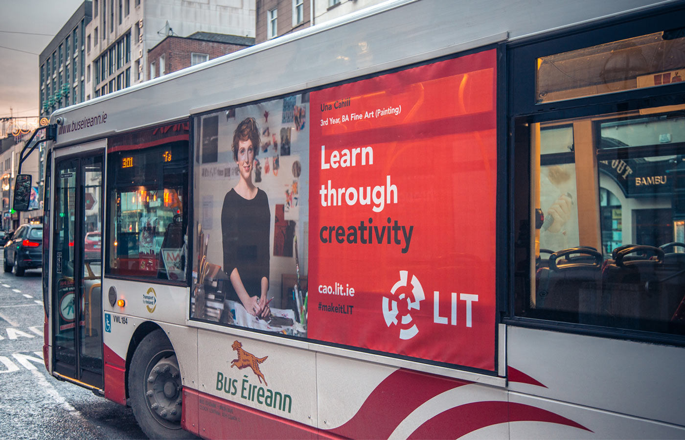 Graphic design and campaign strategy development for LIT. 3rd year fine art student on side of bus.