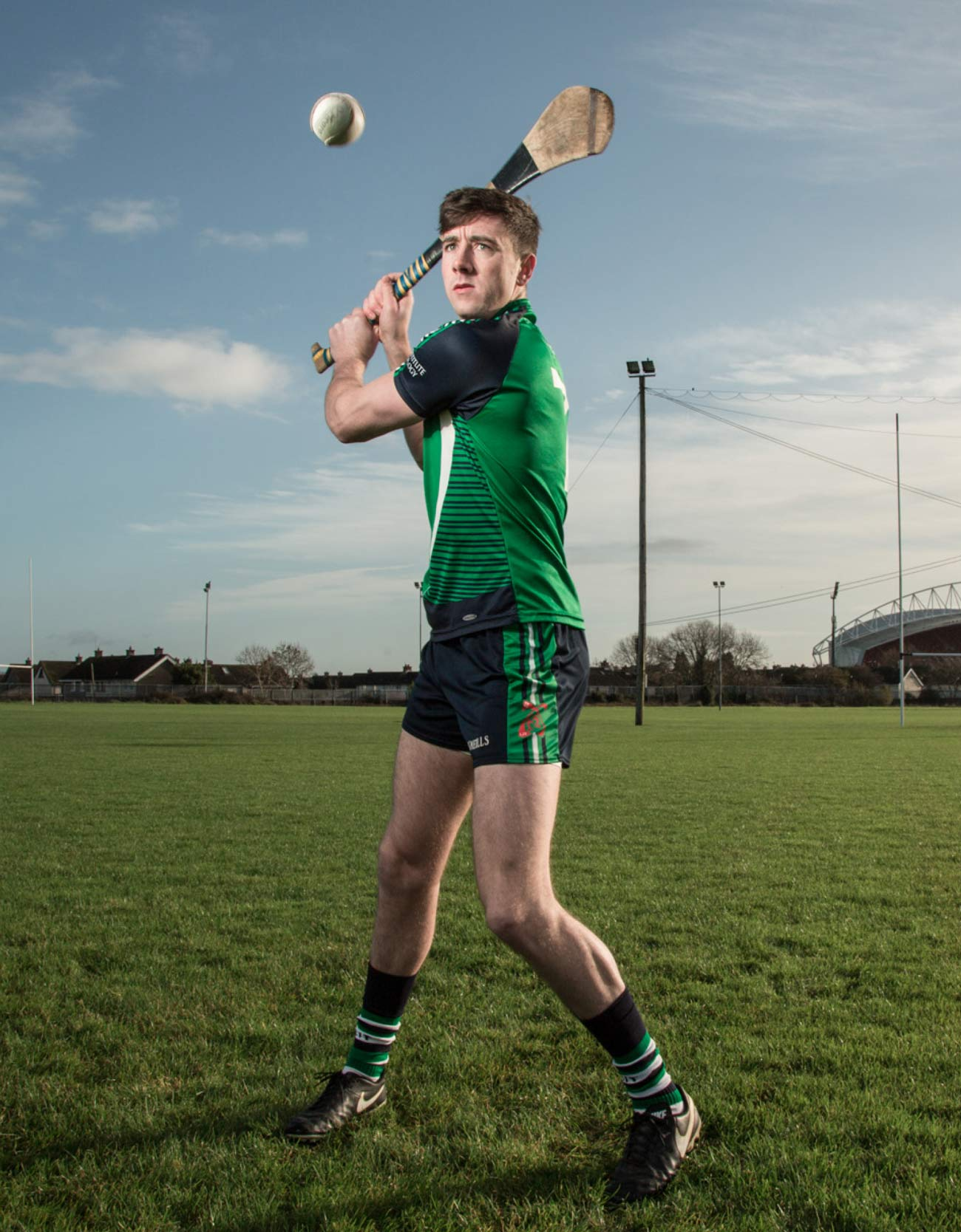 Video and photography production LIT hurler practicing on the pitch