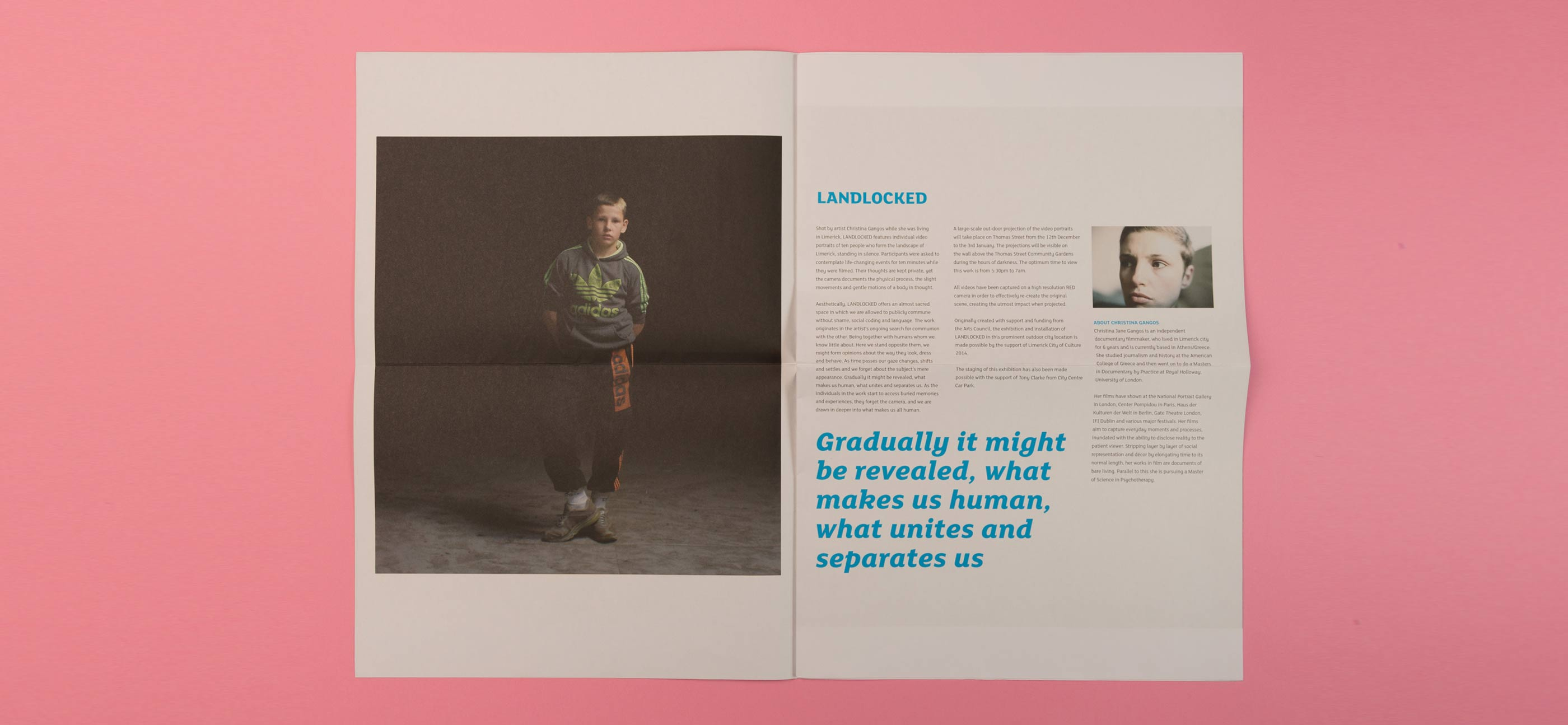 Landlocked graphic design. Spread of programme brochure featuring a young boy.