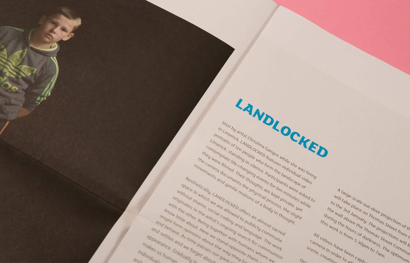 Landlocked graphic design and print management of programme