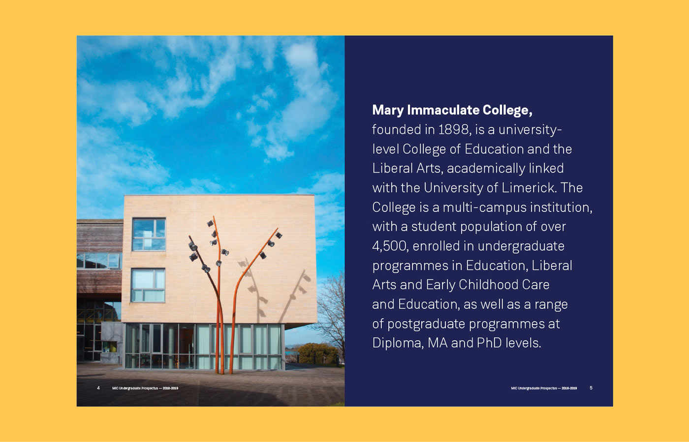 Graphic design for introduction page from the print MIC prospectus