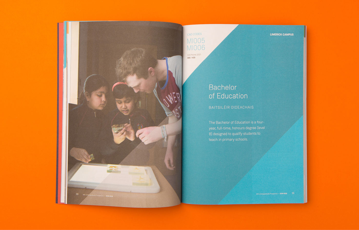 MIC graphic design and print design displaying brand guidelines development with expanded colour palatte and branding for MIC prospectus