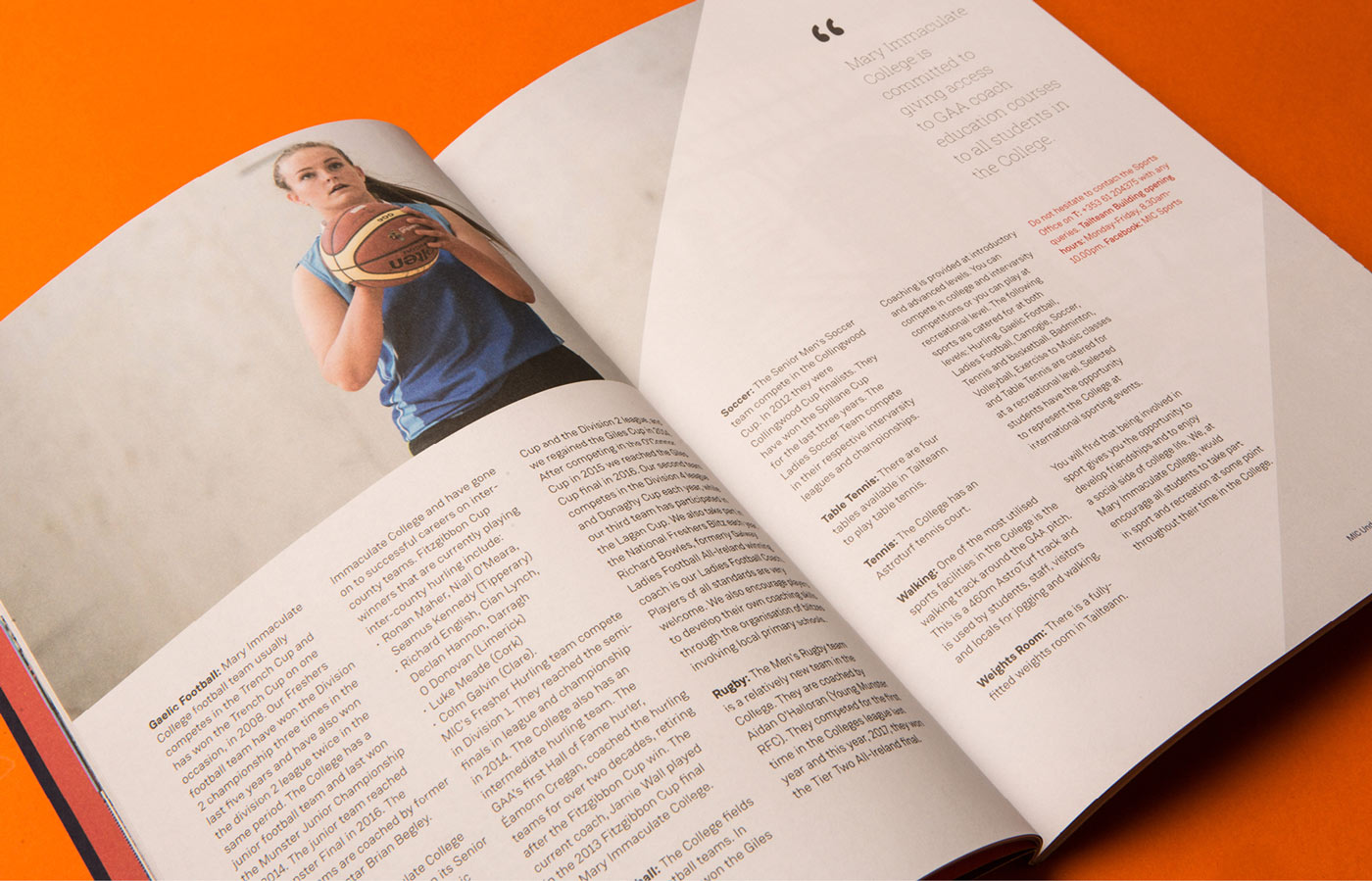 Print design of sports on offer in the MIC prospectus