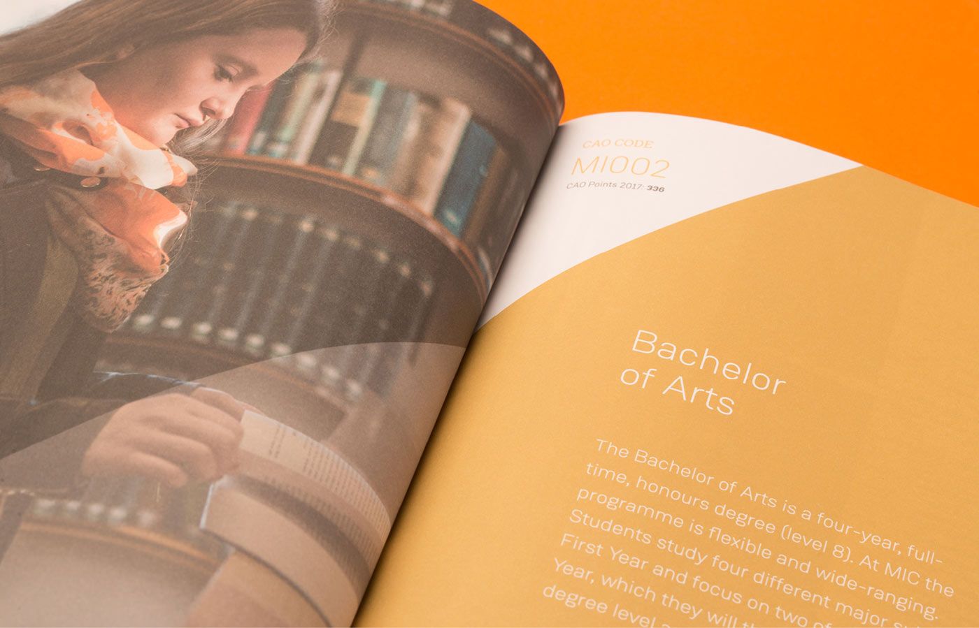 MIC graphic design for undergraduate prospectus open on BA page