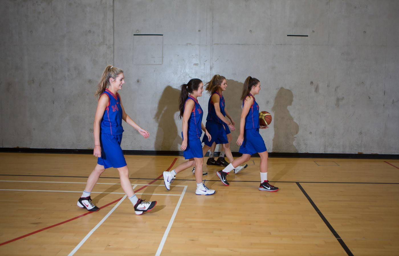 MIC video and photography production of ladies basketball team in new facilities