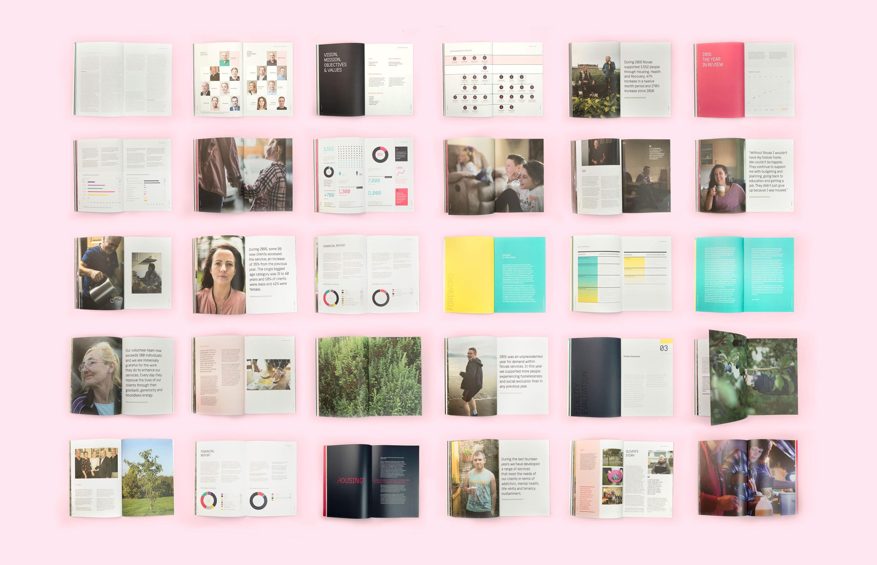 Novas brand development, content creation, editorial design and print. Images of Novas publications