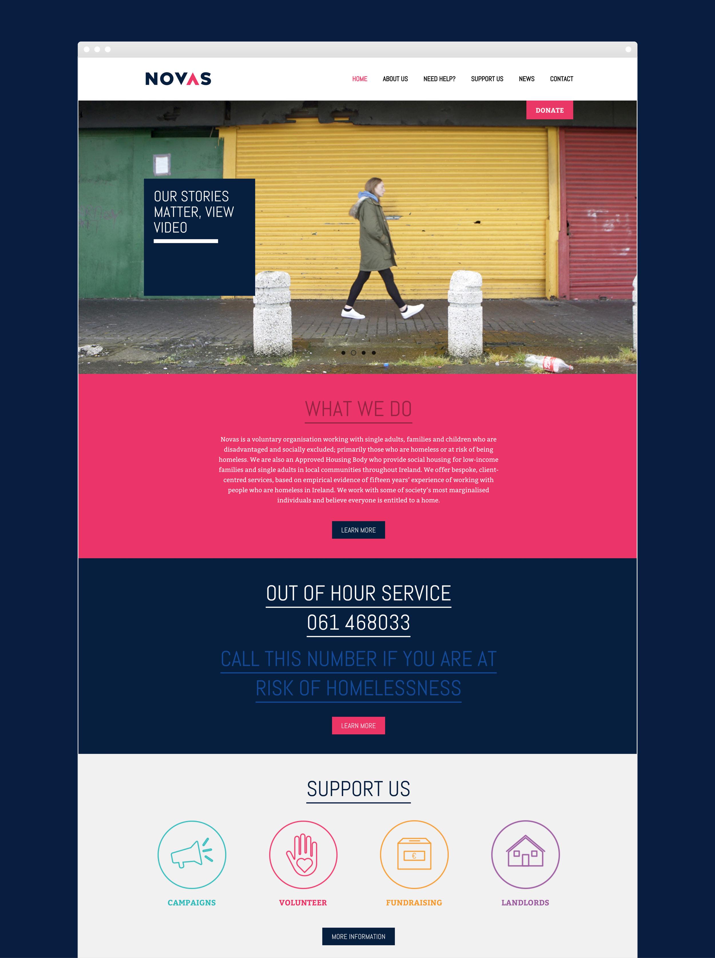 Novas web design & development, brand development. Frontpage of the Novas website