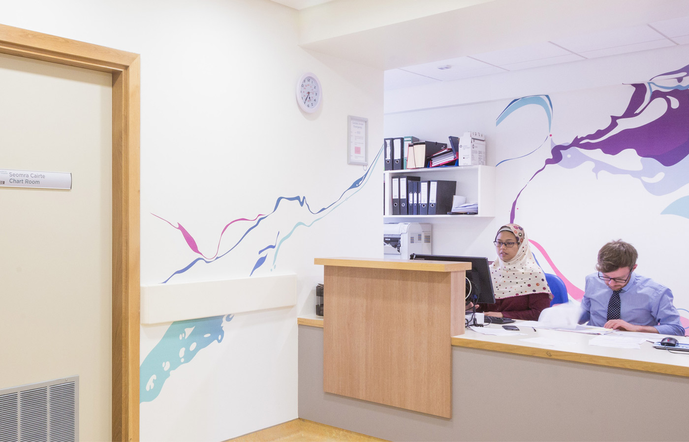 Print and signage in the reception area of the Cystic Fibrosis Unit at the University Hospital Limerick
