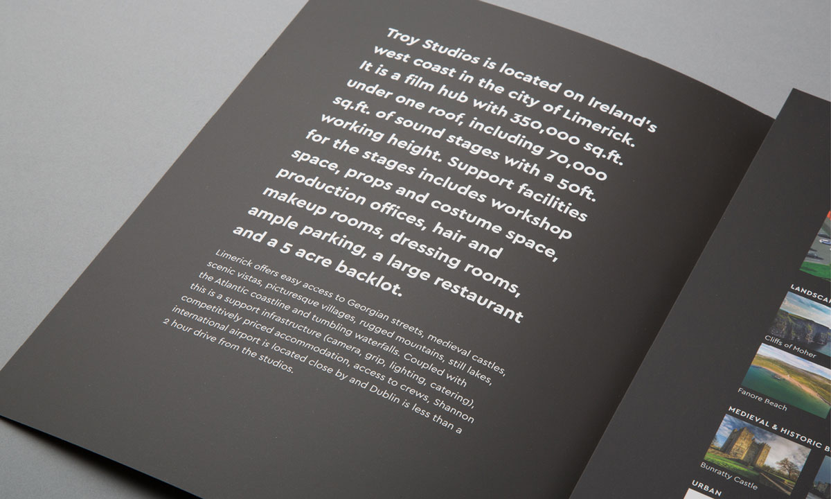 Brochure graphic design. Inside cover detailing Troy Studios facilities and Limerick's attractions.