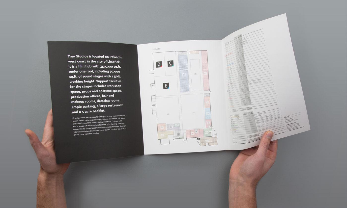 Troy Studios Limerick brochure, graphic design. Inside the brochure.