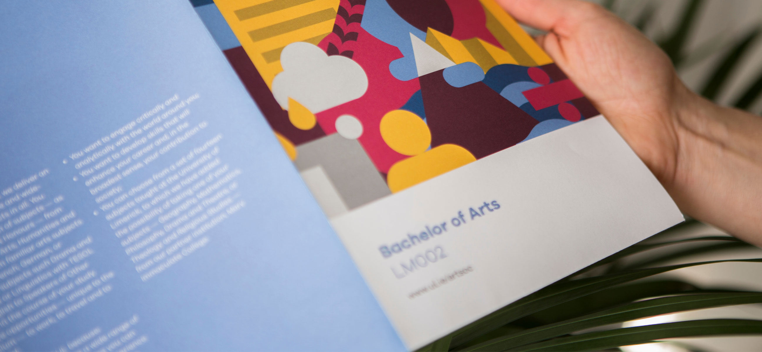 Person reading the UL Bachelor of Arts brochure