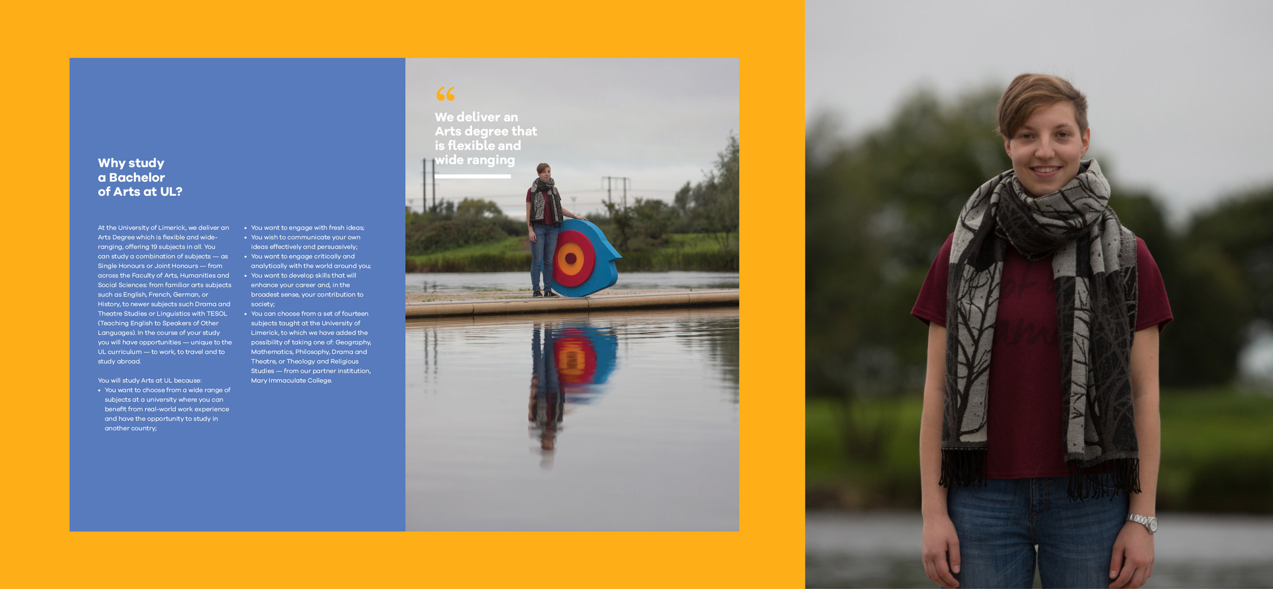 UL Bachelor of Arts graphic design and inside spread from the brochure featuring a student on campus