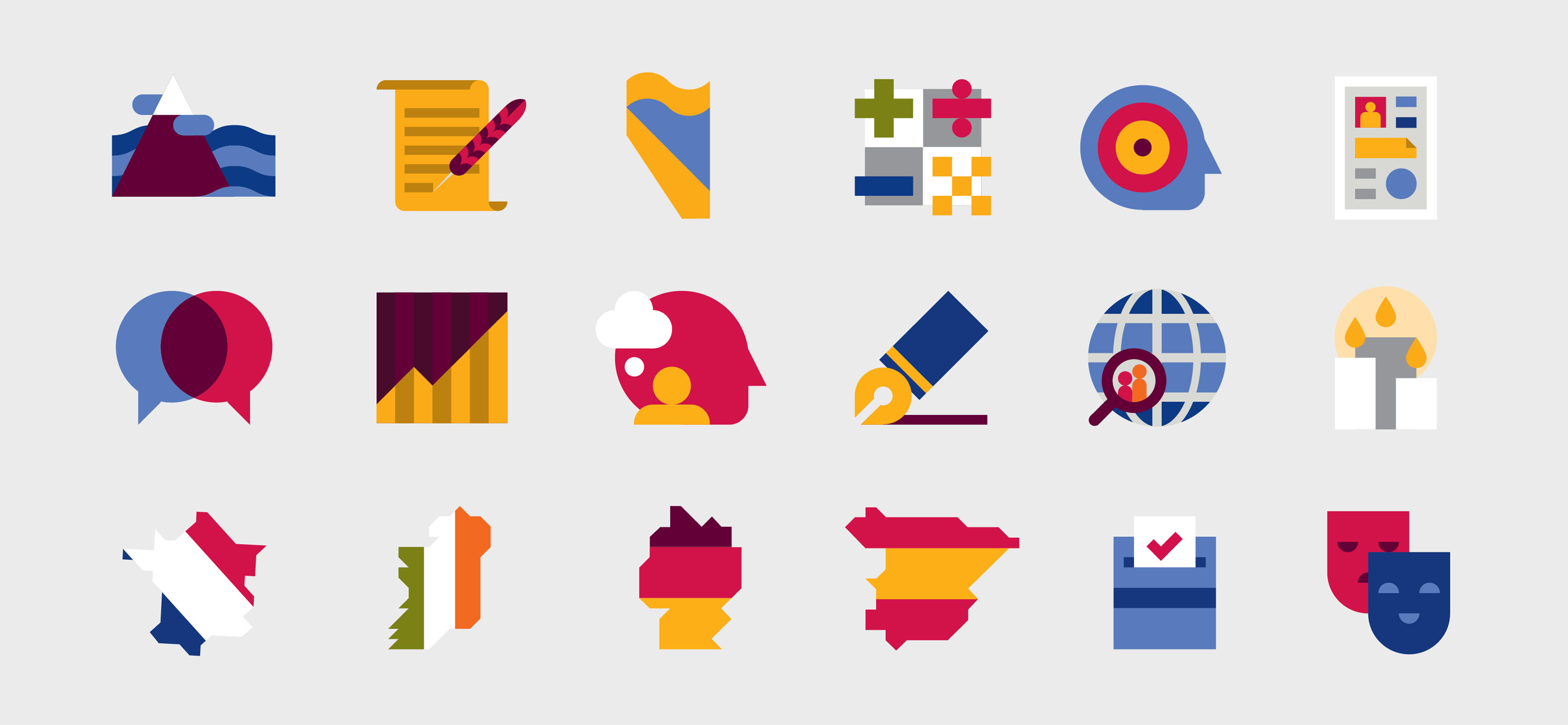 UL Bachelor of Arts campaign graphic design iconography for different subjects