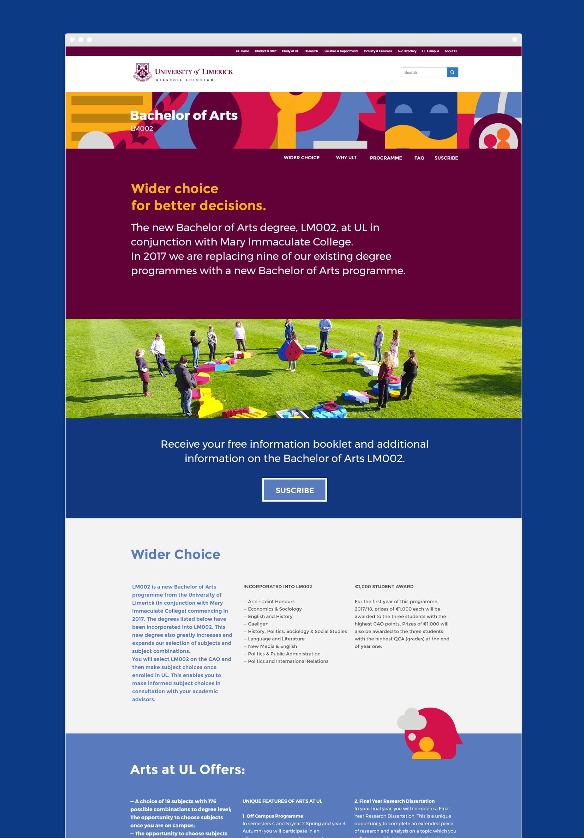 UL website design homepage introducing the Bachelor of Arts degree