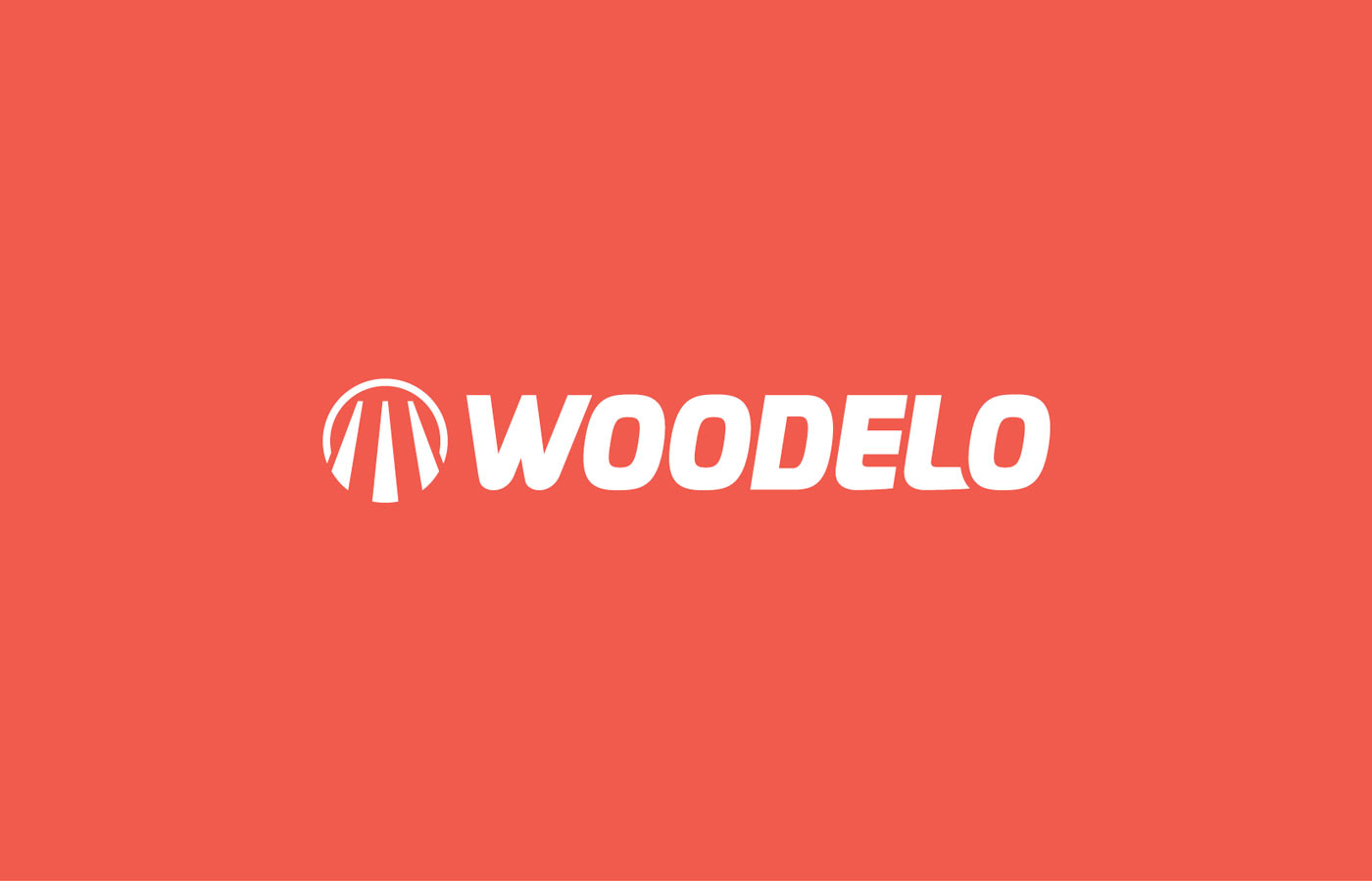 Woodelo logo graphic design white font on red background