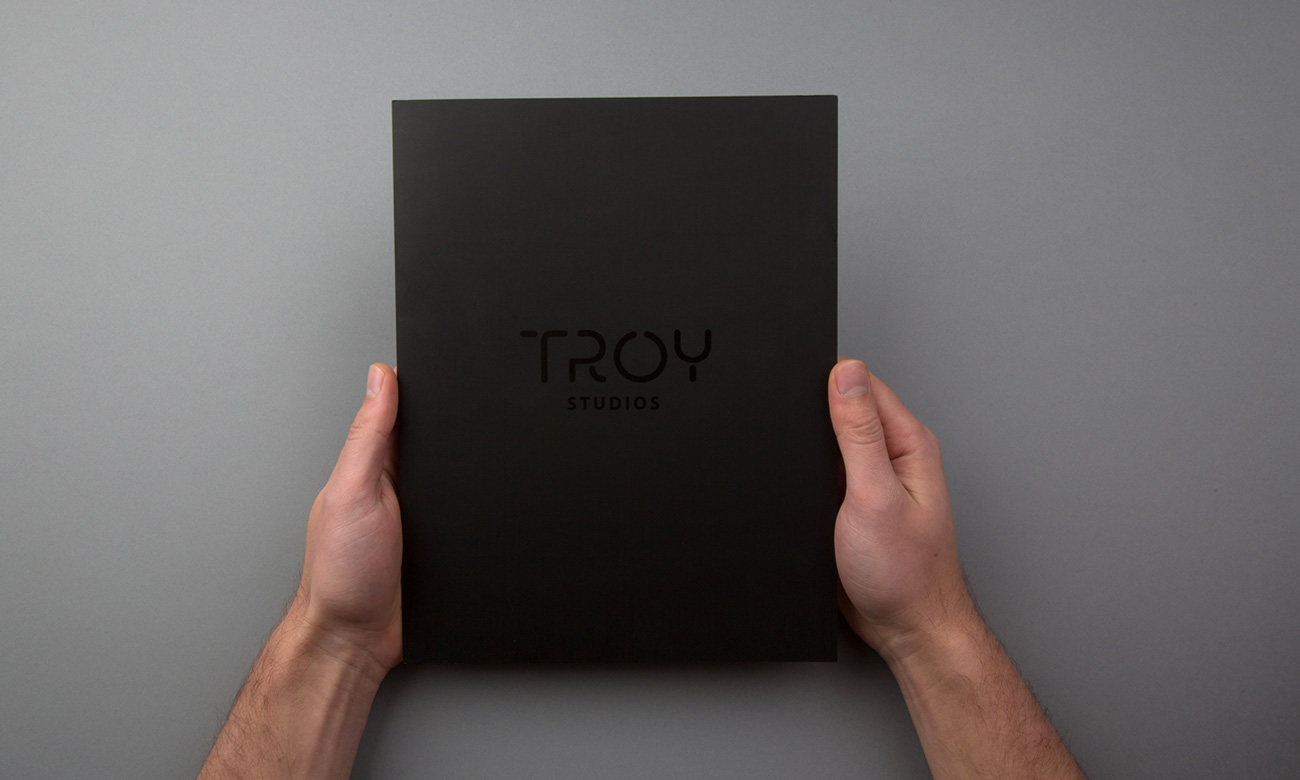 Brand design and brochure design for Troy Studios, Limerick. Front cover