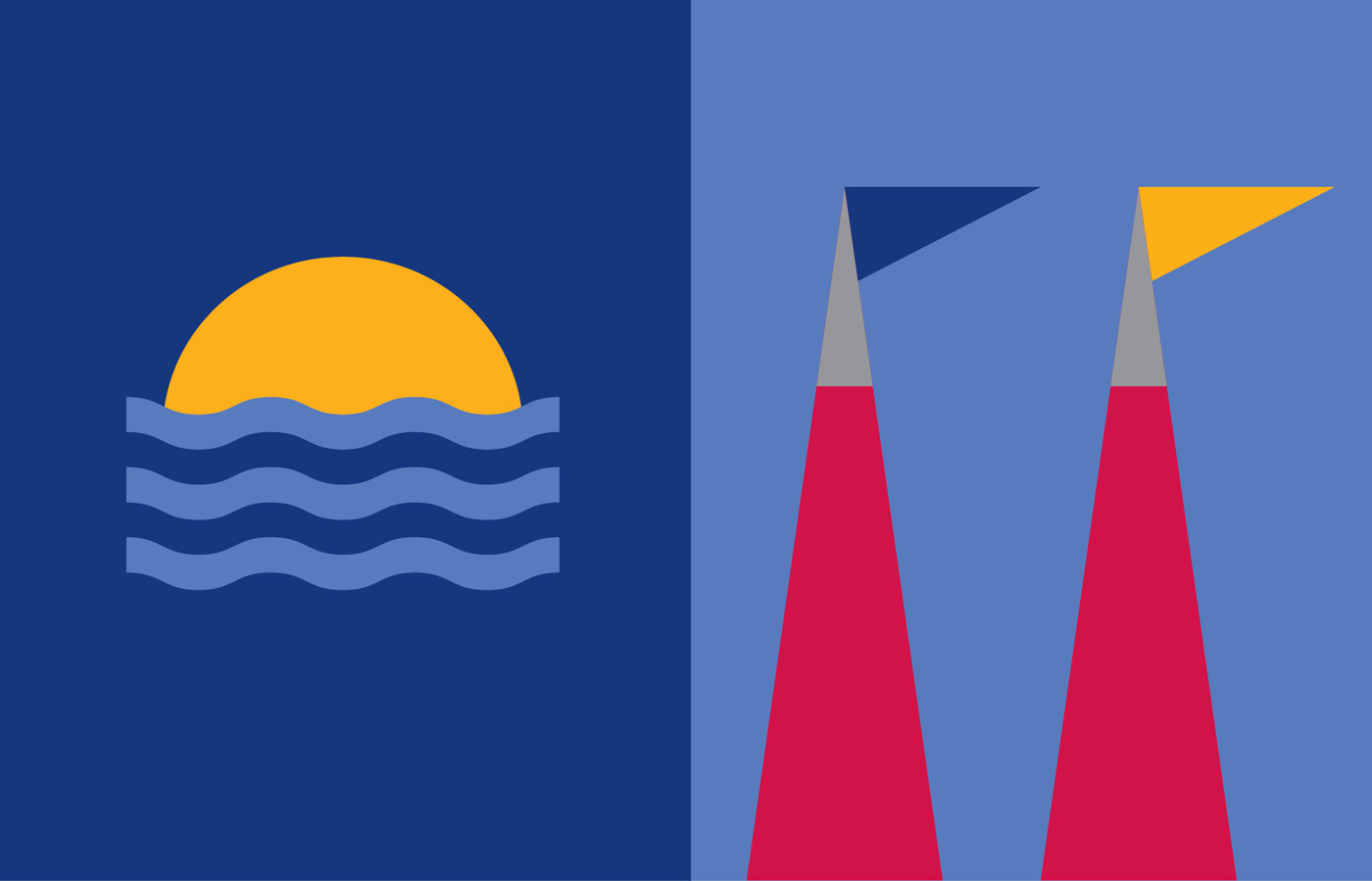 UL Undergrad Iconography representing the flagpoles and the sun on the horizon