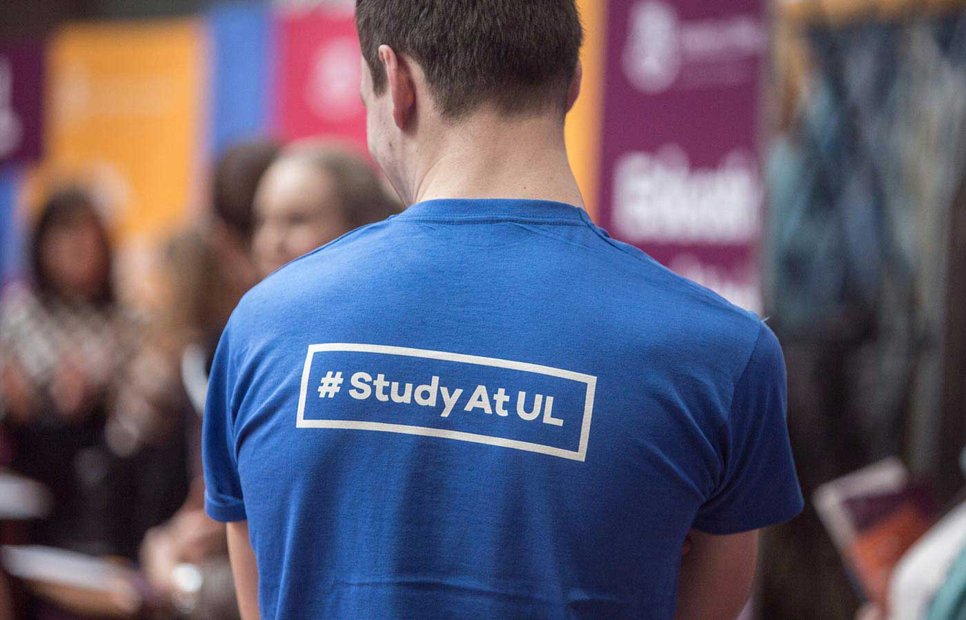 UL Undergrad Brand identity worn by a student volunteer at the open day #studyatul