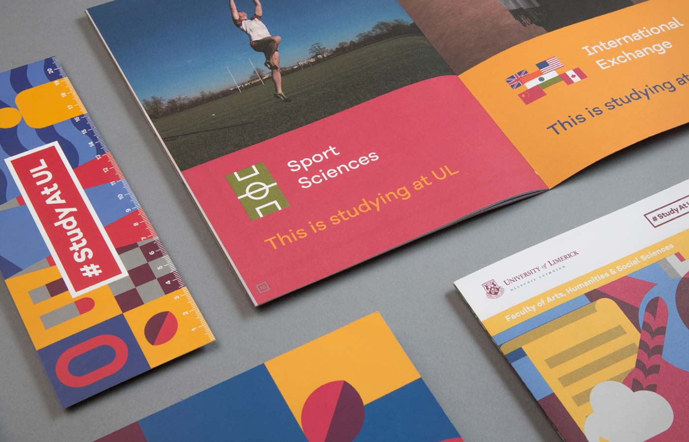 Various brochures for the UL Undergrad campaign featuring graphic design and brand identity