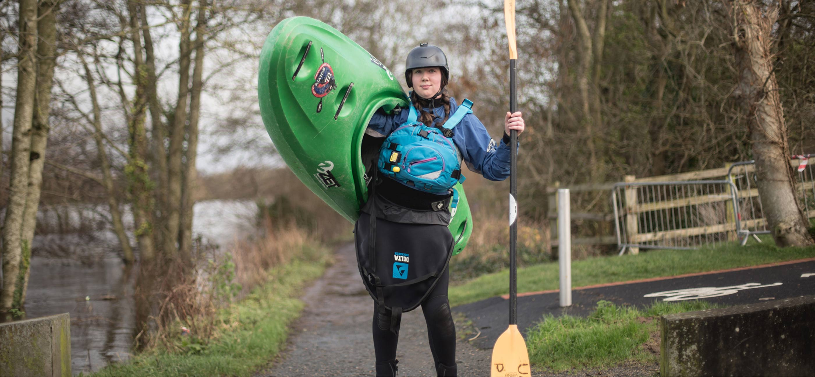 University of Limerick undergraduate campaign photography production student in kayaking gear