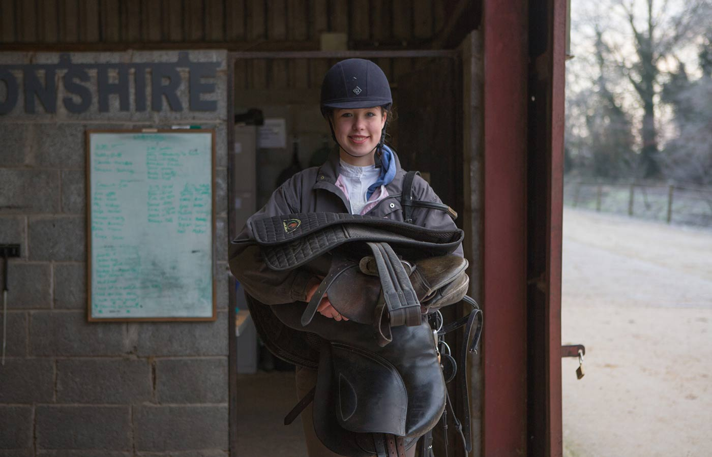 UL Undergrad Video and photography production featuring student getting geared up for horseriding