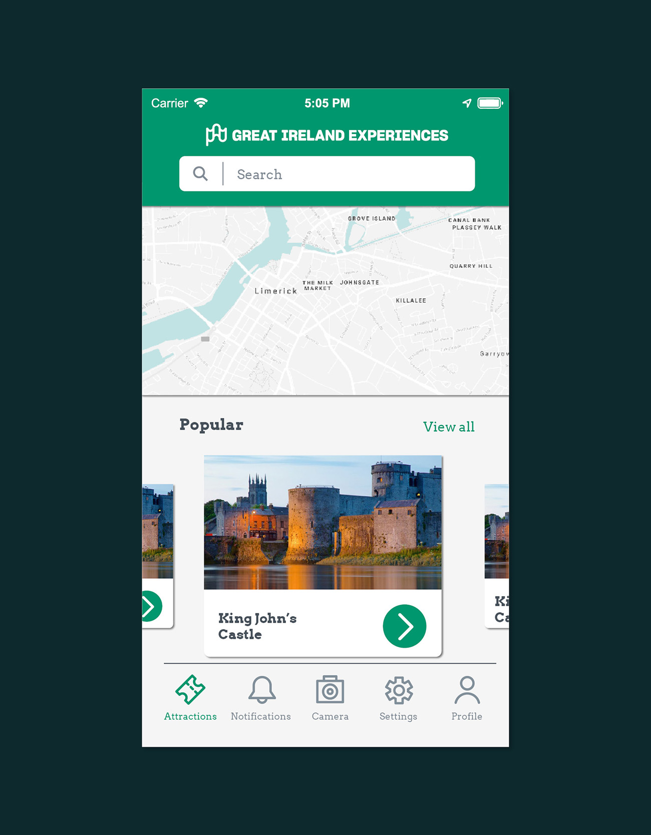 Great Ireland Experiences User Interface Design