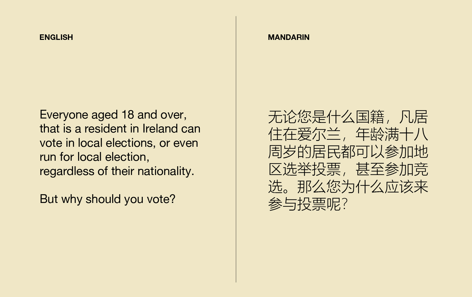 English to Mandarin Translation - Political Participation Campaign - Immigrant Council of Ireland